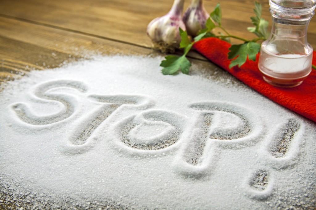 STOP written on a heap of salt - antihypertensive campaign